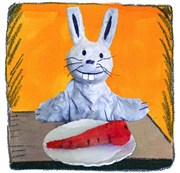 Bon appétit Mr Lapin Th��tre Akt�on Affiche
